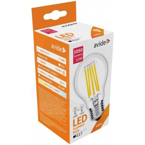 Avide LED Filament Globe 10W E27 360 NW4000K
