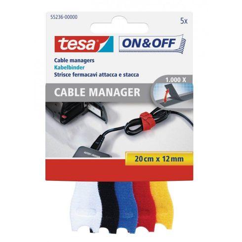 TESA On&Off tépőzáras kábelkötegelő, 5db 12 mm x 20 cm